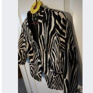 Women's Zebra Animal Print Blazer Black Small